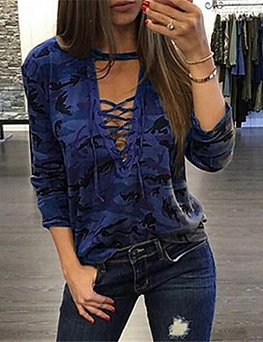 billige Dametopper-T-skjorte Dame - Kamuflasje, Lapper / Trykt mønster Gatemote Blå Svart