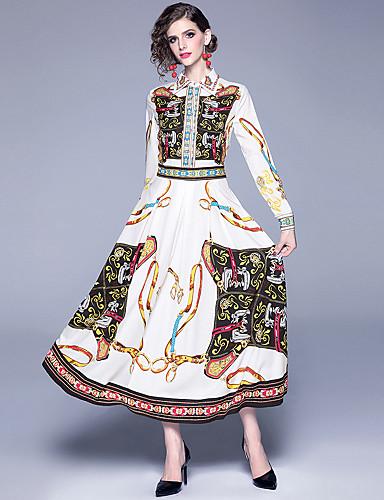 levne Maxi šaty-Dámské Elegantní A Line Šaty - Pléd, Tisk Maxi