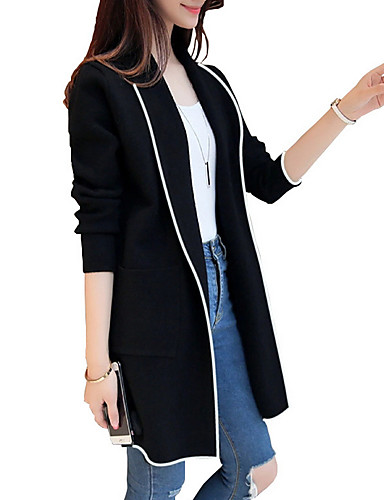 Women's Daily Winter Long Coat, Color Block Rolled collar Long Sleeve Polyester Black / Red / Gray