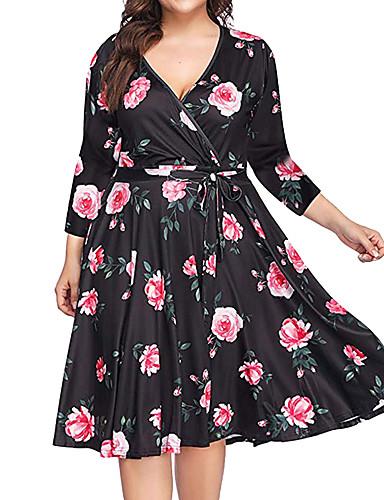 voordelige Grote maten jurken-Dames Boho Wijd uitlopend Jurk - Bloemen Geometrisch Tot de knie