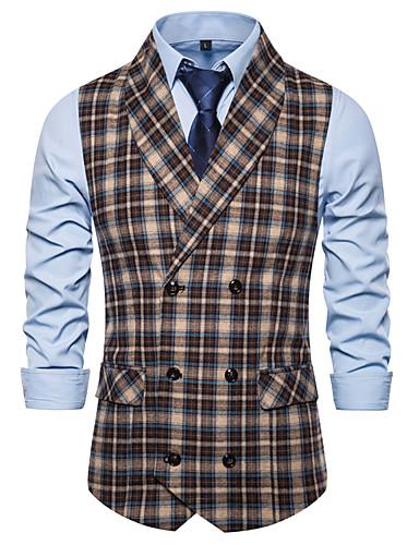 cheap Waistcoats-Men's V Neck Vest Color Block White / Brown US32 / UK32 / EU40 / US34 / UK34 / EU42 / US36 / UK36 / EU44
