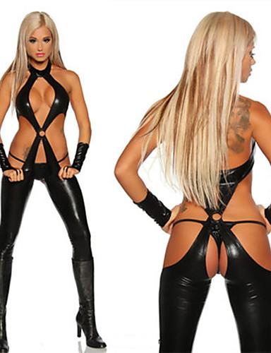 baratos Fantasias Sexy-Mulheres Mulher Sensual Adulto Uniformes Sensuais Gênero Fantasias de Cosplay Collant / Pijama Macacão Luvas Tanga