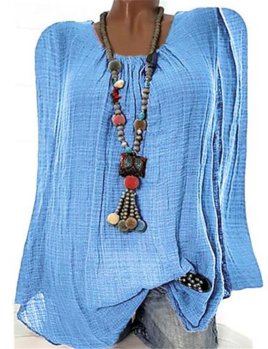 billige T-skjorter til damer-T-skjorte Dame - Ensfarget, Flettet / Lapper Grunnleggende / Bohem Svart