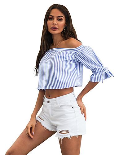billige Dametopper-Skjorte Dame - Ensfarget / Stripet / Fargeblokk, Åpen rygg / Sløyfe / Flettet Grunnleggende / Gatemote BLå & Hvit / Hvit / Blå Blå