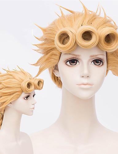 povoljno Anime cosplay-JoJo je Bizarno Avantura Cosplay Cosplay Wigs Žene 18 inch Otporna na toplinu vlakna Zlatna Zlatan Anime
