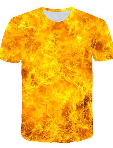 voordelige Heren T-shirts & tanktops-Heren Street chic / overdreven Print T-shirt Effen / 3D / Grafisch Geel