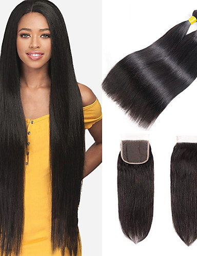 cheap 11.11 - Hair Extensions Best Sale-3 Bundles with Closure Brazilian Hair Straight Remy Human Hair 100% Remy Hair Weave Bundles Headpiece Natural Color Hair Weaves / Hair Bulk Bundle Hair 8-24 inch Natural Color Human Hair Weaves Odor
