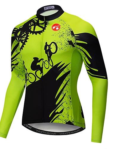 povoljno Biciklističke majice-21Grams Noviteti Gear Muškarci Dugih rukava Biciklistička majica - Zelen Bicikl Biciklistička majica Majice UV otporan Prozračnost Ovlaživanje Sportski Poliester Elastan Terilen Brdski biciklizam