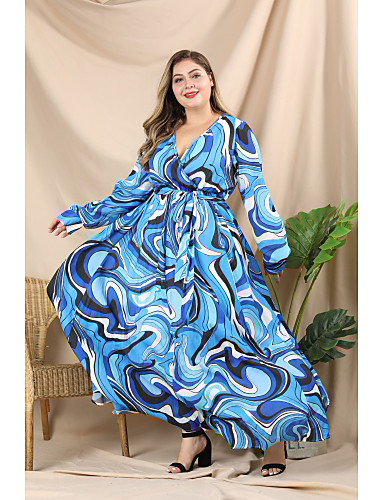 voordelige Grote maten jurken-Dames Street chic Elegant A-lijn Wijd uitlopend Jurk - Geometrisch Kleurenblok, Geplooid Veters Print Maxi Blauw