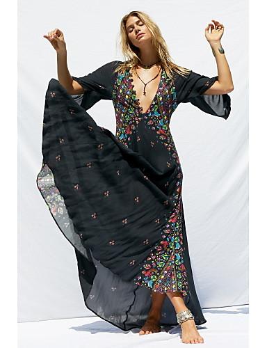 voordelige Maxi-jurken-Dames Standaard Chiffon Jurk - Kleurenblok, Print Maxi Zwart Wit