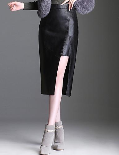 Жен. Большие размеры Секси Полиуретановая Облегающий силуэт Подол Однотонный Черный M L XL / С разрезами