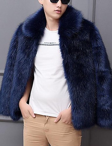 levne Pánská saka a kabáty-Pánské Párty / Práce Šik ven / Punk & Gothic Podzim zima Standardní Faux Fur Coat, Jednobarevné Košilový límec Dlouhý rukáv Umělá kožešina Vodní modrá / Bílá / Černá
