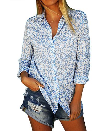 billige Dametopper-Skjorte Dame - Geometrisk, Trykt mønster Gatemote Blå