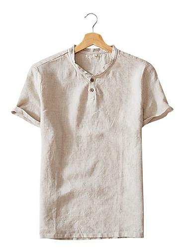 voordelige Heren T-shirts & tanktops-Heren Standaard T-shirt Effen Wit