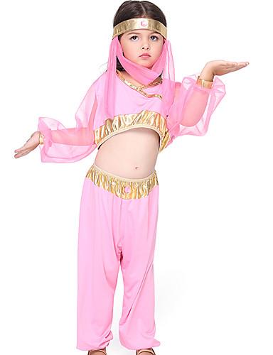 preiswerte Kostüme für Kinder-Indisches Mädchen Cosplay Kostüme Kinder Mädchen Halloween Halloween Fest / Feiertage Elasthan Polyester / Polyamid Rosa Karneval Kostüme