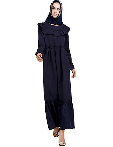 voordelige Maxi-jurken-Dames Boho Abaya Jurk - Effen, Ruche Maxi