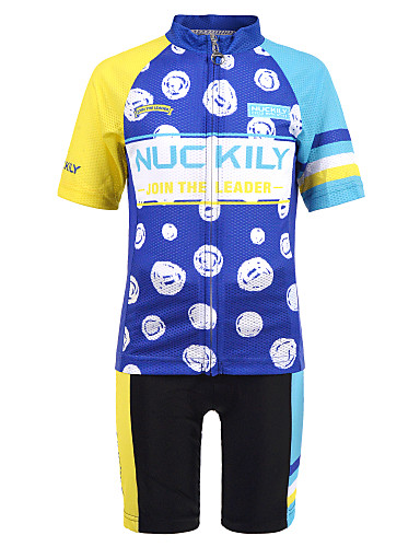 cheap Cycling-Nuckily Boys' Short Sleeve Cycling Jersey with Shorts - Kid's Summer Spandex Blue Bike Jersey Padded Shorts / Chamois Lightweight Back Pocket Sports Patterned Clothing Apparel / Micro-elastic