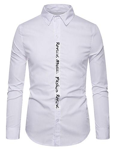 levne Pánské košile-Pánské - Písmeno Základní Košile, Patchwork Černá / Bílá Černá