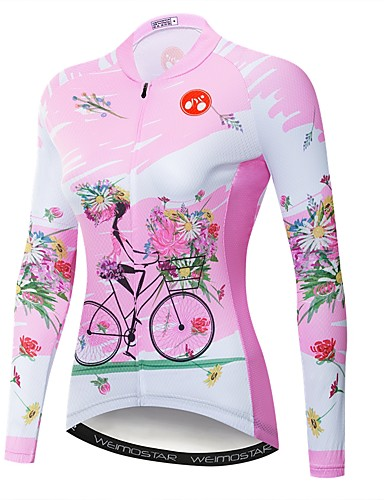 povoljno Biciklističke majice-WEIMOSTAR Cvjetni / Botanički Žene Dugih rukava Biciklistička majica - Pink Bicikl Biciklistička majica Majice UV otporan Prozračnost Ovlaživanje Sportski Poliester Elastan Terilen Brdski biciklizam