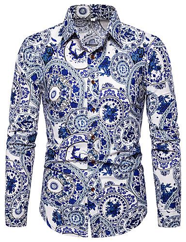 Homens Camisa Social Temática Asiática / Elegante Estampado, Floral / Estampa Colorida Azul
