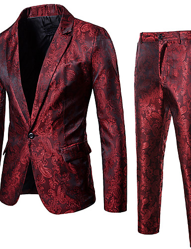cheap Historical & Vintage Costumes-Disco Disco 1980s Pants Suits & Blazers Men's Sequins Costume Black / Purple / Red Vintage Cosplay Party Halloween Club Long Sleeve / Tuxedo / Tuxedo