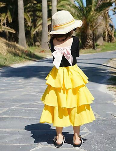 Infantil Para Meninas Básico Sólido Saia Amarelo