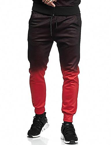 Homens Activo / Básico Chinos / Calças Esportivas Calças - Sólido Algodão Vermelho Cinzento Escuro Verde Tropa XL XXL XXXL