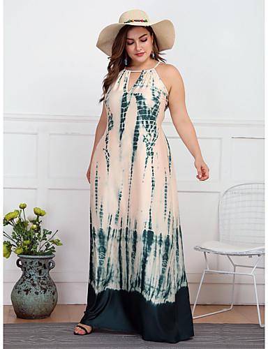 voordelige Grote maten jurken-Dames Boho Wijd uitlopend Jurk - Tie Dye, Veters Print Maxi