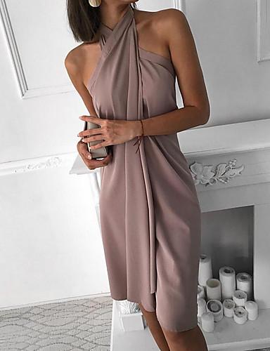 Жен. Классический А-силуэт Платье - Однотонный Ассиметричное