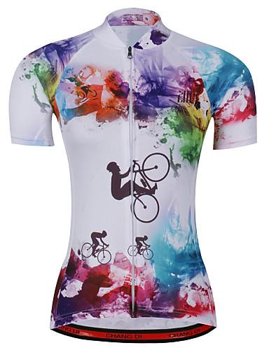 povoljno Biciklističke majice-21Grams Duga Kravata Žene Kratkih rukava Biciklistička majica - Blue + Pink Bicikl Biciklistička majica Majice Prozračnost Ovlaživanje Quick dry Sportski Terilen Brdski biciklizam Odjeća