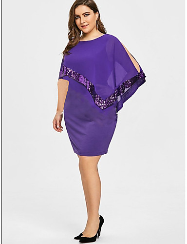 levne Šaty velkých velikostí-Dámské Větší velikosti Základní Volné Tričko Šaty - Jednobarevné, Flitry Patchwork Nad kolena Bez pásku