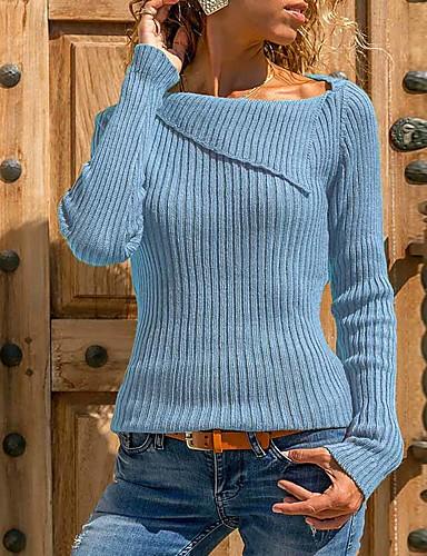 billige Dametopper-Dame Ensfarget Langermet Store størrelser Pullover Genserjumper, Skjortekrage Vår / Høst Svart / Vin / Lyseblå S / M / L