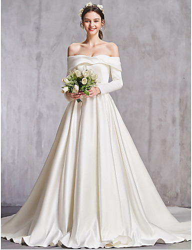 cheap Wedding Dresses-A-Line Off Shoulder Chapel Train Taffeta Long Sleeve Sexy Wedding Dresses with Ruffles 2020