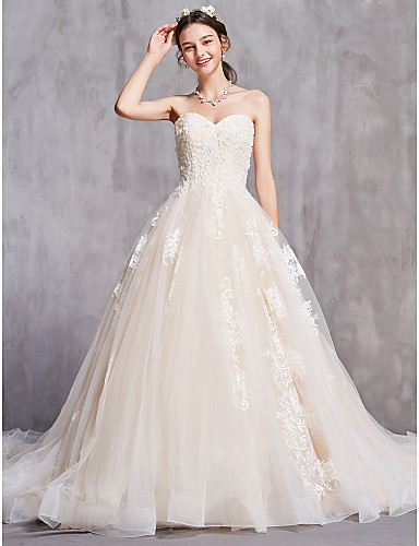 cheap Wedding Dresses-A-Line Strapless Cathedral Train Tulle Strapless Sexy Wedding Dresses with Beading / Embroidery 2020