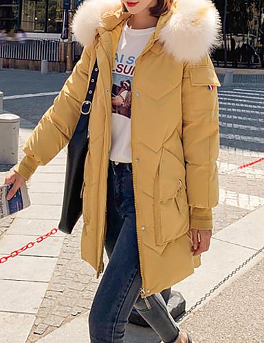 preiswerte Modische Kleidung-Damen Solide Lang Daunenjacke, Polyester Schwarz / Weiß / Gelb M / L / XL
