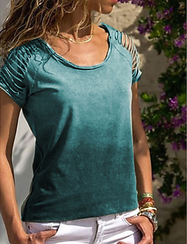 cheap Up to 90% off-Women's Plus Size Solid Colored T-shirt Blue / Purple / Red / Green / Gray