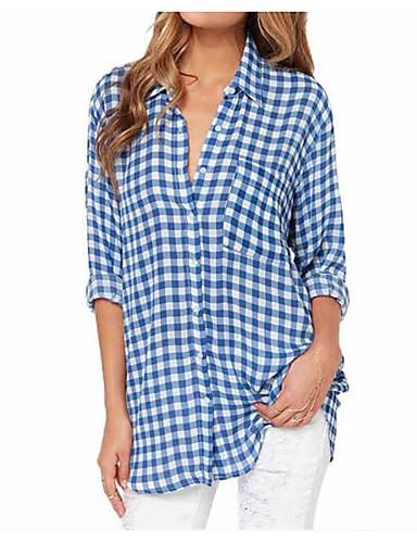billige Skjorter til damer-Skjorte Dame - Ruter, Lapper Grunnleggende Blå