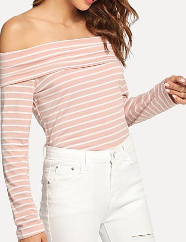 billige Dametopper-Bluse Dame - Stripet Grunnleggende / Gatemote Rosa