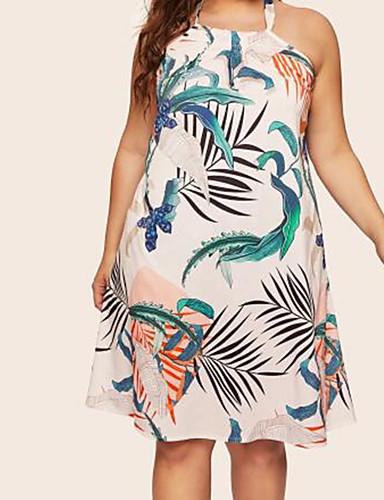 voordelige Grote maten jurken-Dames Boho Elegant A-lijn Schede Jurk - Bloemen, Veters Boven de knie Tropisch blad