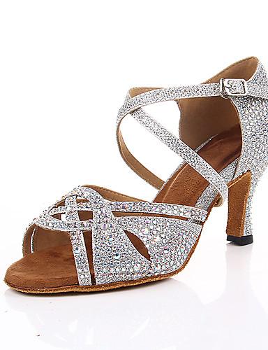 billige Shoes & Bags Must-have-Dame Dansesko Sateng Sko til latindans Krystalldetaljer Høye hæler Slim High Heel Kan spesialtilpasses Svart / Sølv / Trening / Ytelse / Lær