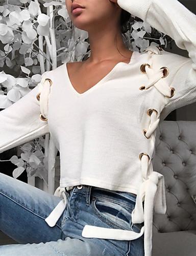billige Dametopper-V-hals Bluse Dame - Ensfarget Grunnleggende Hvit