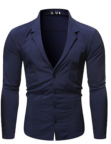 levne Pánské košile-Pánské - Jednobarevné Šik ven / Elegantní Košile Černá