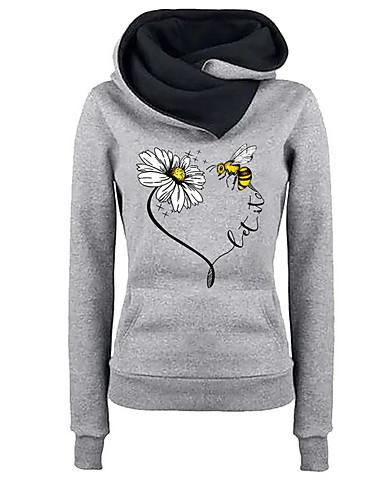 billige Dametopper-Dame Fritid Hattetrøje Blomstret
