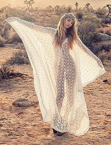 levne Maxi šaty-Dámské Základní Cikánský Shift Šaty - Květinový, Krajka Patchwork Maxi Bílá