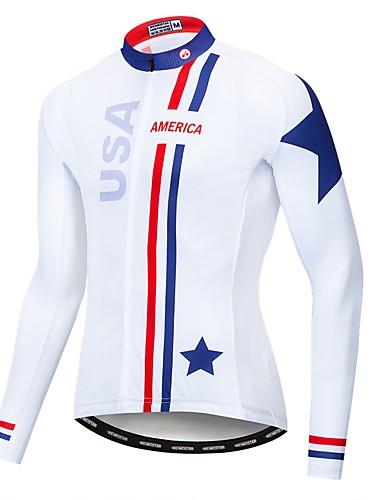 povoljno Odjeća za vožnju biciklom-WEIMOSTAR American / USA Državne zastave Muškarci Dugih rukava Biciklistička majica - Red / White Bicikl Biciklistička majica Majice UV otporan Prozračnost Ovlaživanje Sportski Poliester Elastan
