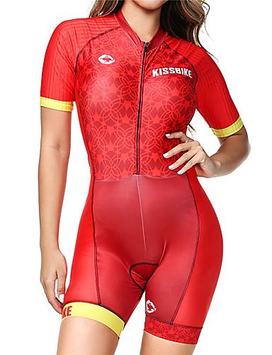 preiswerte Triathlon Bekleidung-BOESTALK Damen Kurzarm Triathlonanzug Rot Streifen Fahhrad Atmungsaktiv Feuchtigkeitsabsorbierend Rasche Trocknung Anatomisches Design Tasche auf der Rückseite Sport Elasthan Streifen Bergradfahren