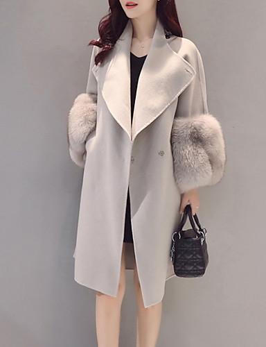 preiswerte Damenbekleidung Ausverkauf-Damen Alltag Herbst Winter Lang Mantel, Solide Coiled Gola Langarm Polyester Grau