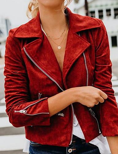 preiswerte Damen Leder- & Kunstlederjacken-Damen Alltag Frühling Standard Jacke, Solide Coiled Gola Langarm Polyester Rote / Grau / Khaki