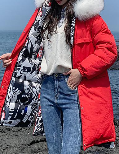 levne Dámské parky a paleta-Dámské Jednobarevné Dlouhé Dlouhý kabát, Polyester Černá / Žlutá / Rubínově červená M / L / XL