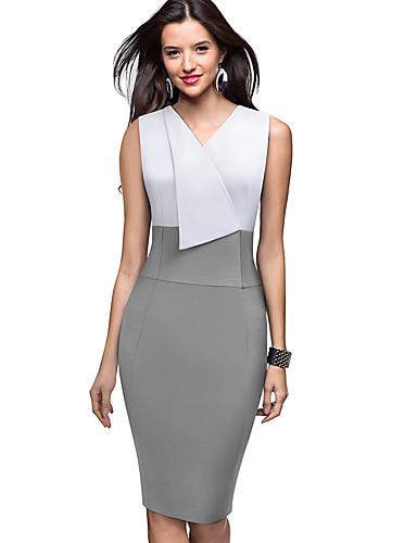 levne Pracovní šaty-Dámské Sofistikované Elegantní Bodycon Pouzdro Šaty - Jednobarevné Barevné bloky, Patchwork Délka ke kolenům Černá a Bílá